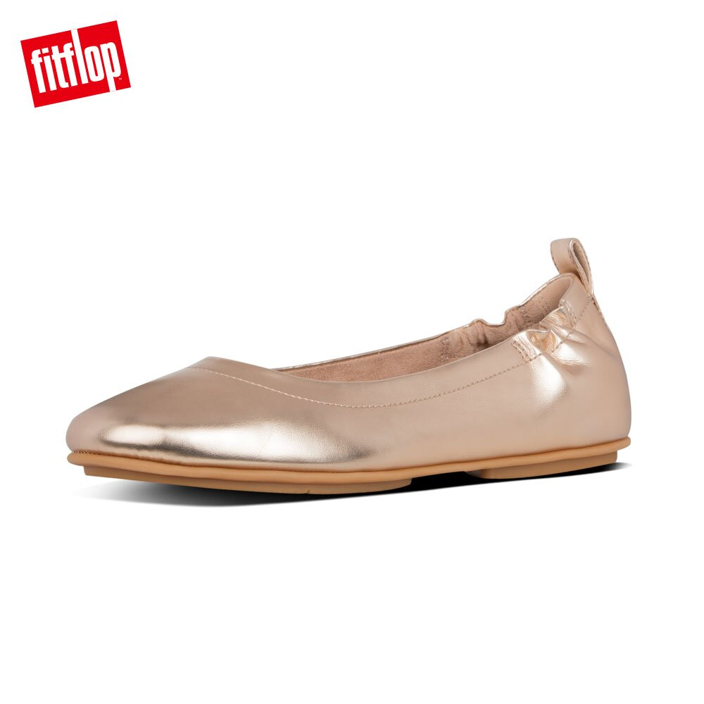 【FitFlop】ALLEGRO LEATHER METALLIC BALLERINAS輕量芭蕾舞鞋-女(玫瑰金)