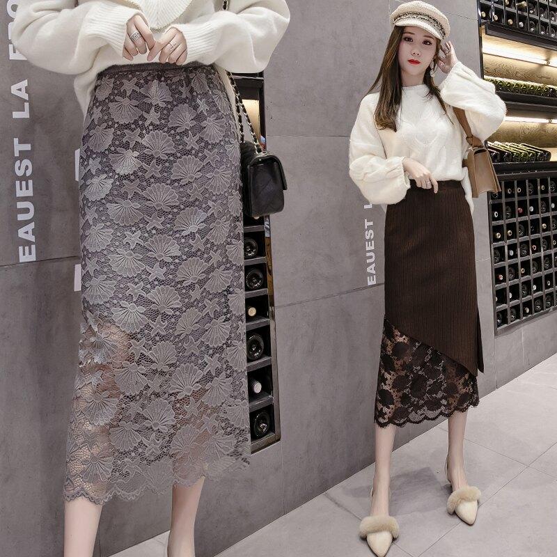 蕾絲半身裙秋冬女2019新款高腰修身顯瘦包臀裙中長款一步裙針織裙1入