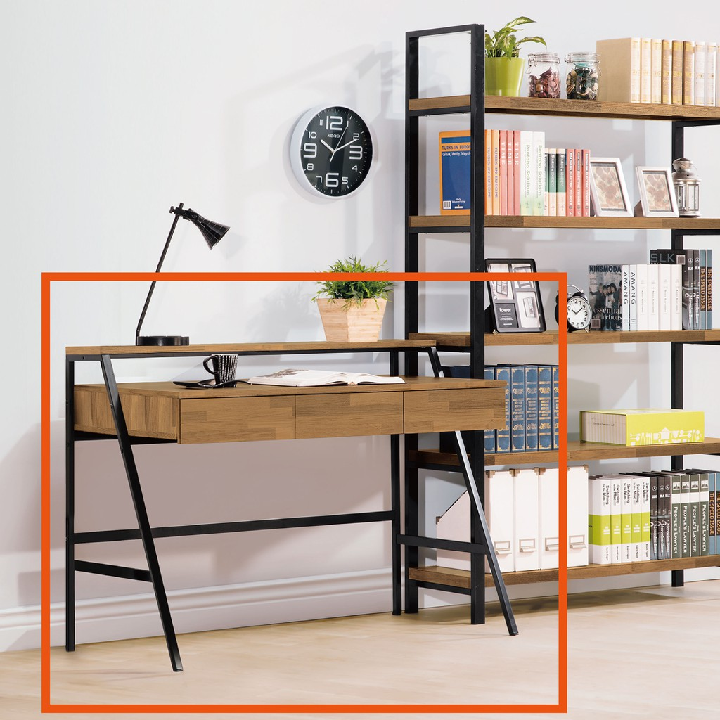 【120cm書桌-B504-01】工業風工作桌 書櫃型書桌 書桌加書櫃 【金滿屋】