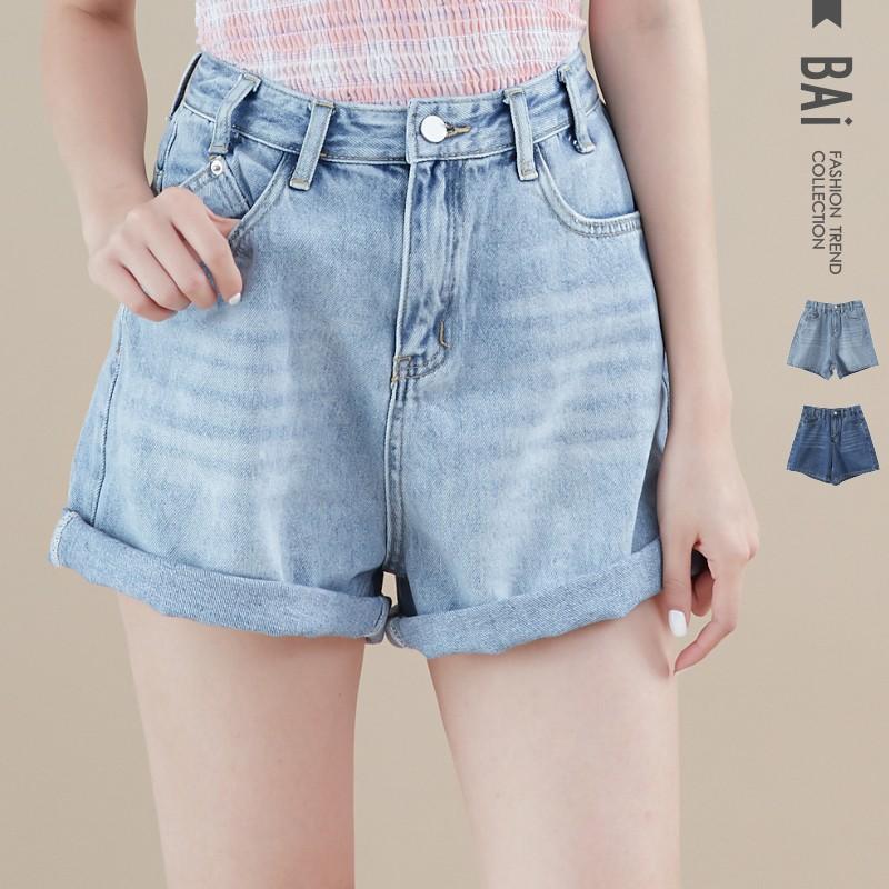 短褲 復古刷白單釦反摺褲管高腰牛仔褲M-XL號-BAi白媽媽【301625】