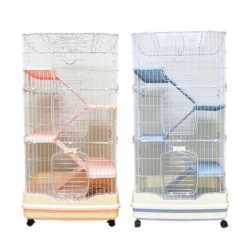 寵物補給站-屋塔房兔籠(三層) PPS-158粉嫩紅/PPS-159紳灰 附移動輪子『WANG』