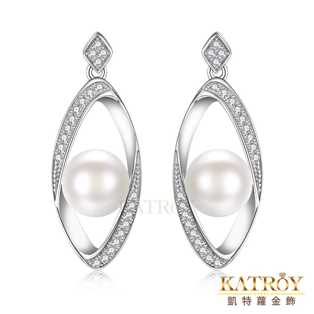 KATROY  925純銀 正圓 天然珍珠 8.0- 8.5 完美曲線 FG20011