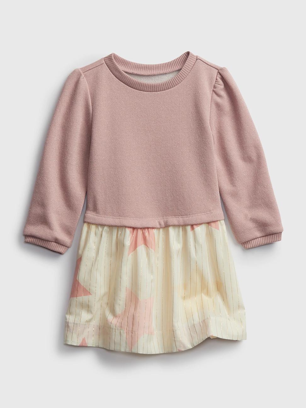 幼童 甜美拼接圓領長袖洋裝