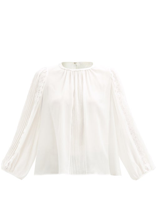 Chloé - Lace-panel Silk-georgette Top - Womens - White