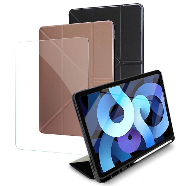 Xmart for iPad Air 4 10.9吋 2020 清新簡約超薄Y折帶筆槽皮套+專用玻璃貼