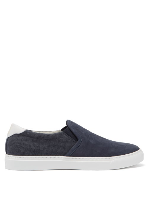 Brunello Cucinelli - Slip-on Canvas And Suede Trainers - Mens - Blue