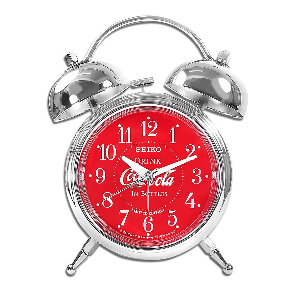SEIKO 精工 / 可口可樂聯名限量款 滑動式秒針 貪睡鬧鈴 雙鈴 靜音鬧鐘 / 紅色 / QHK906S