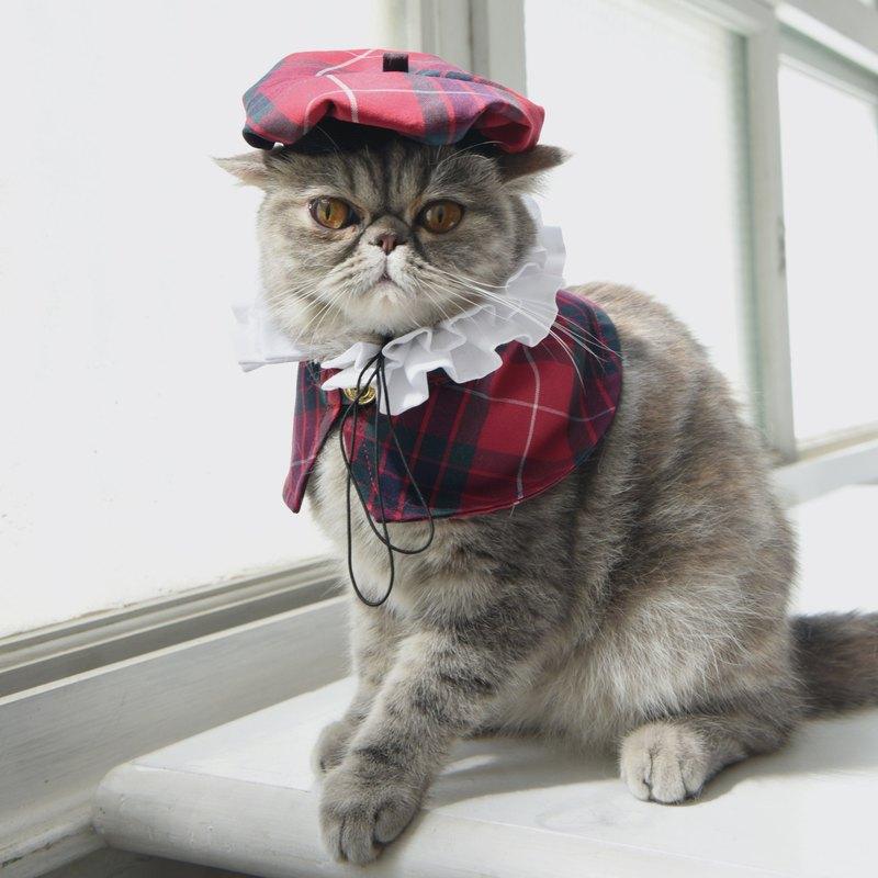 寵物皇室時尚套組 - 拉夫領 & 貝雷帽 -貓咪