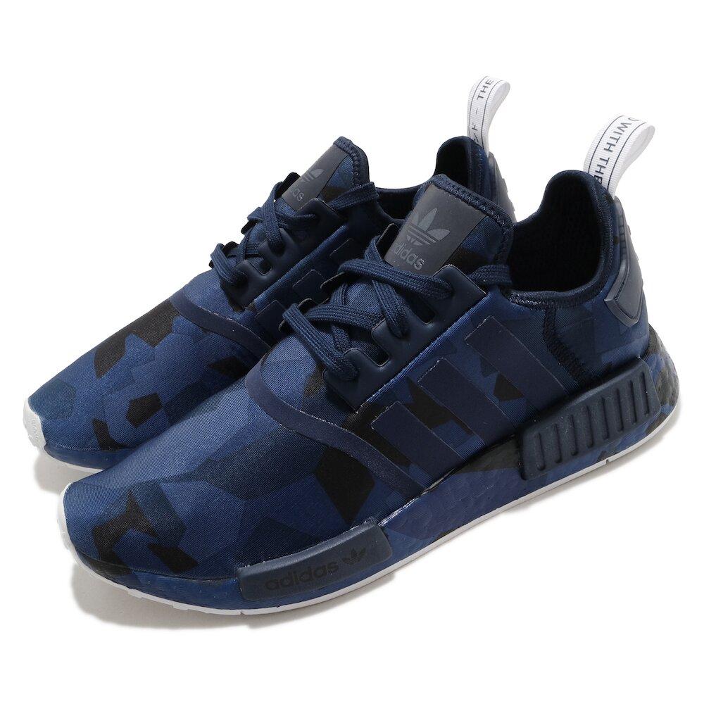 ADIDAS 休閒鞋 NMD_R1 襪套式 女鞋 海外限定 愛迪達 三葉草 緩震 Boost 藍黑 [EF4264]