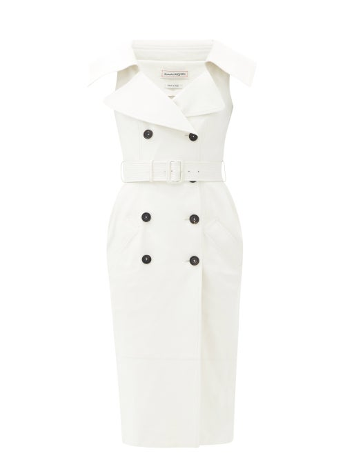 Alexander Mcqueen - Open-collar Leather Trench Midi Dress - Womens - Ivory