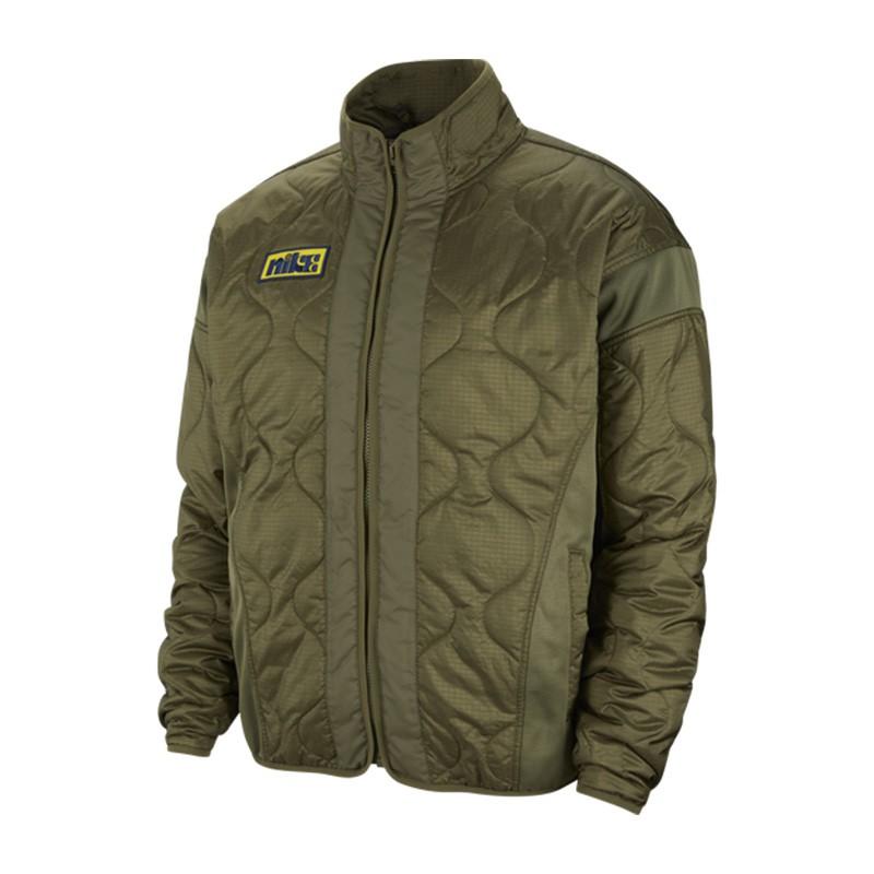 Nike Hardwood Liner 男款 軍綠 笑臉 拼接 立領 鋪棉 防風 休閒 外套 CK6858-222