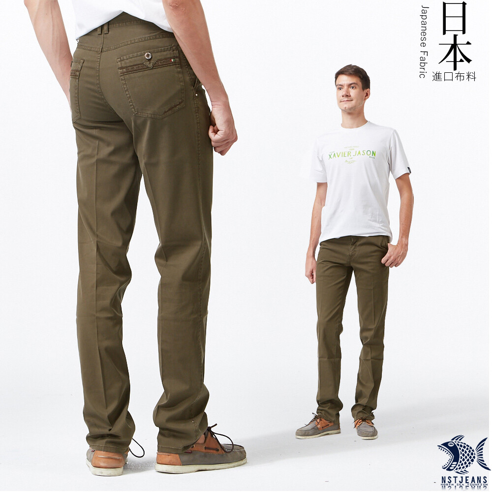 nst jeans男黑長褲 中腰直筒 斜口袋冷棕色壓紋日本布料 390(5665)夏季薄款