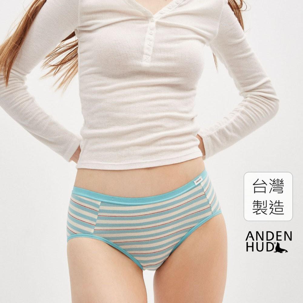 【Anden Hud】邊界村落.中腰三角內褲(白-仿舊紅藍條) 台灣製