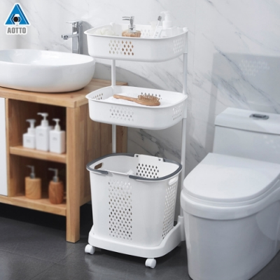 【AOTTO】日式質感大容量三層髒衣籃 洗衣籃(附輪好移動)