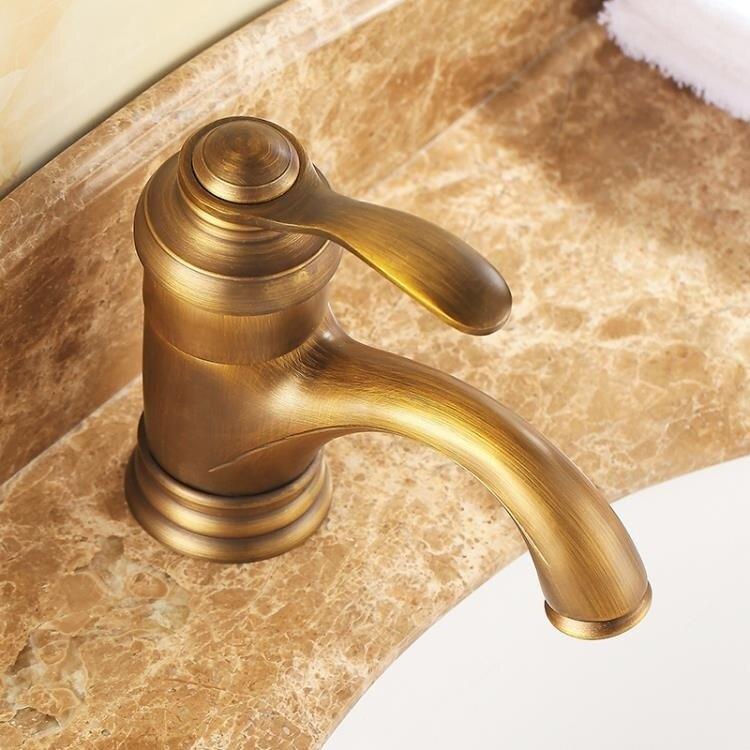 水龍頭 全銅仿古衛生間歐式龍頭浴室洗臉盆面盆龍頭單孔台下盆龍頭 -