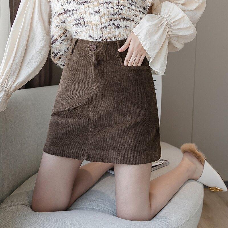 秋冬2019新款性感打底短款高腰短裙字裙包臀裙燈芯絨半身裙緊身女1入