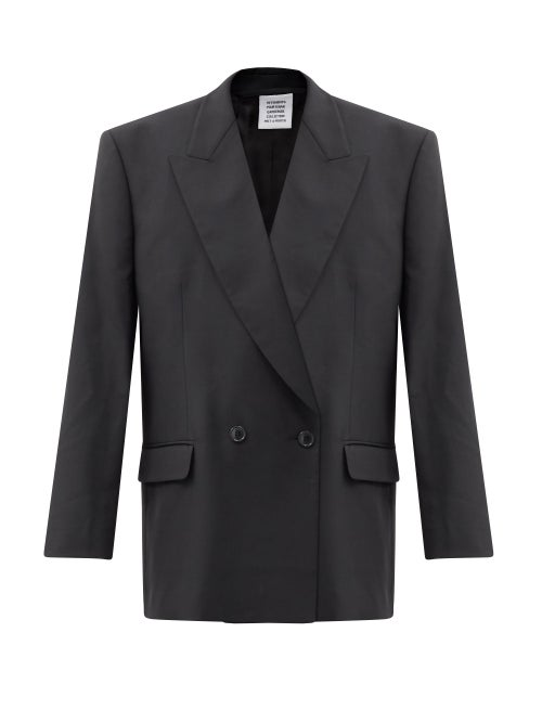 Vetements - Double-breasted Virgin Wool-twill Jacket - Womens - Black