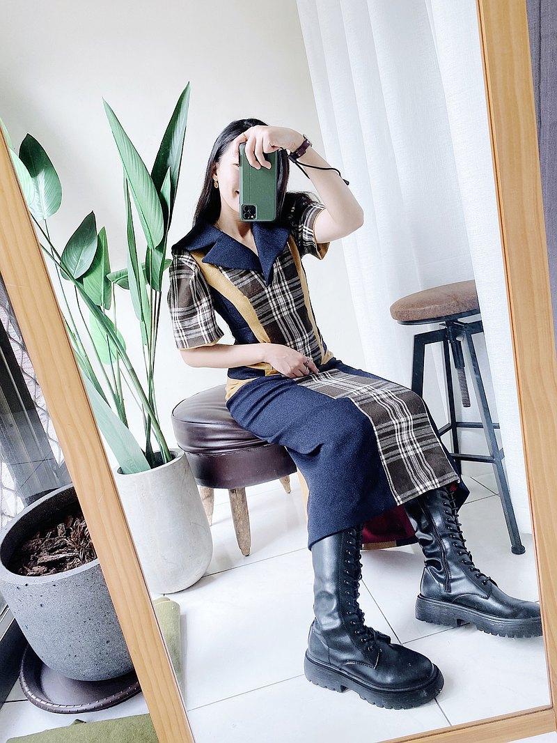 海藍x芥黃拼接塊面澎袖宮廷挺版 古董棉質中磅洋裝連衣裙 vintage