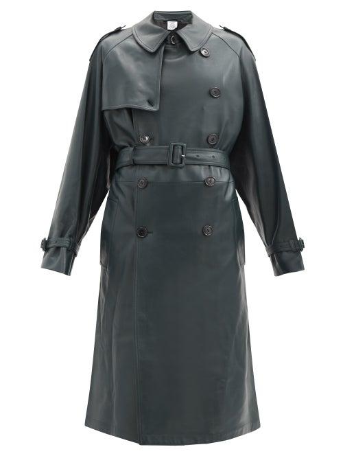 Vetements - Soft Leather Trench Coat - Womens - Dark Green