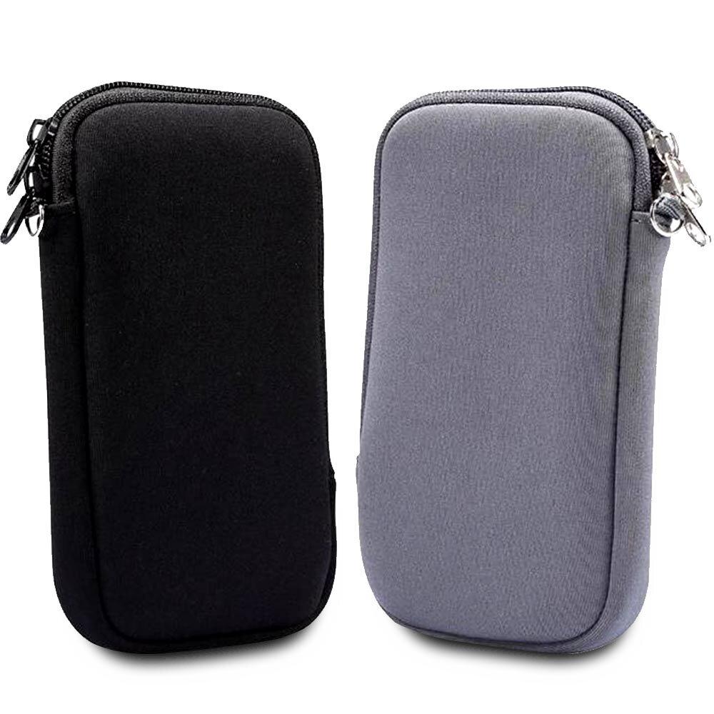 5.5 - 6.5吋智慧型手機專用手拿/ 頸掛式潛水布收納包 - 時尚黑