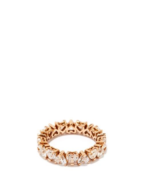 Shay - Heart Diamond & 18kt Rose-gold Eternity Ring - Womens - Rose Gold