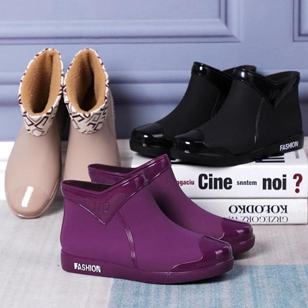 冬季加絨保暖雨鞋女時尚款外穿水鞋防水女士成人短筒