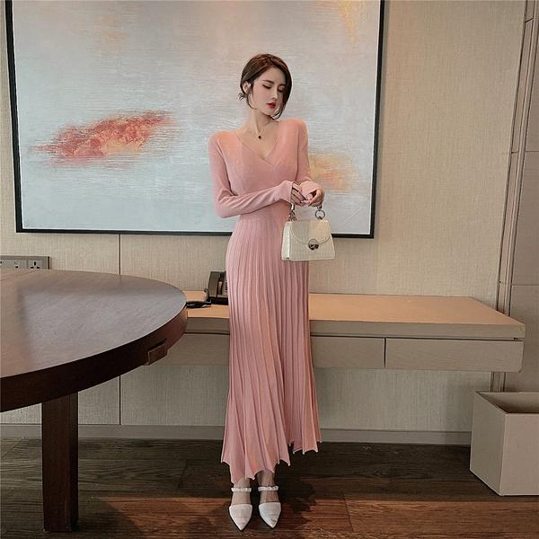 洋裝連身裙V領收腰顯瘦針織百褶打底連身裙80506 .NE312.1號公館