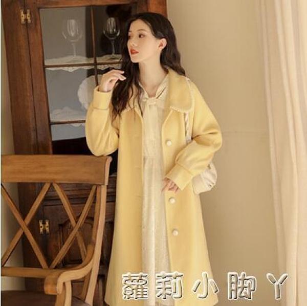 赫本風加厚呢子大衣2020年新款小個子氣質中長款毛呢外套女秋冬季 NMS蘿莉新品