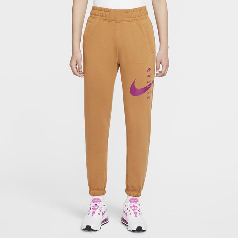 Nike Sportswear Swoosh 女款 卡其 縮口 休閒 運動 長褲 CU5632-201