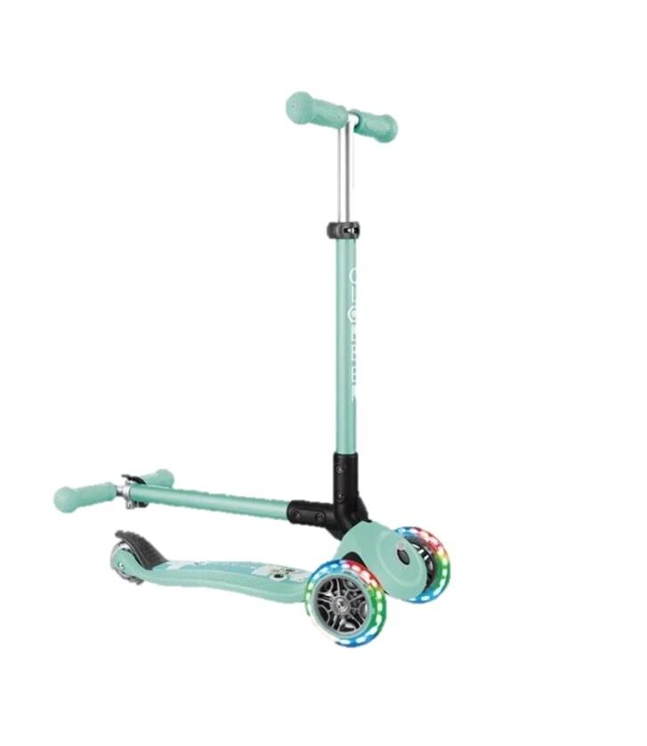 法國 globber 哥輪步 兒童2合1三輪折疊滑板車夢幻版(led發光前輪)-薄荷綠色