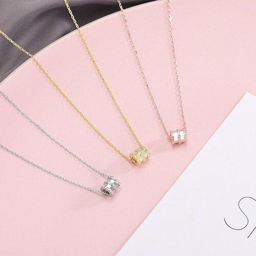 【米蘭精品】925純銀項鍊鑲鑽吊墜-小蠻腰精緻甜美女飾品3色73ze10