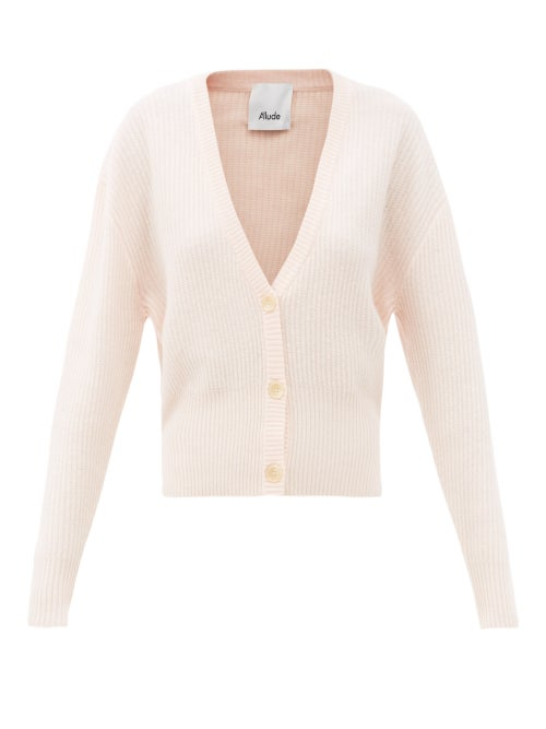 Allude - Dropped-sleeve Cashmere Cardigan - Womens - Light Pink