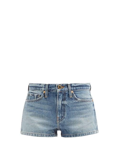 Khaite - Charlotte Mid-rise Denim Shorts - Womens - Light Blue
