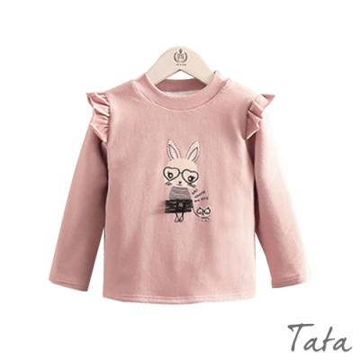 童裝 兔子印花荷葉邊袖刷絨上衣 TATA KIDS