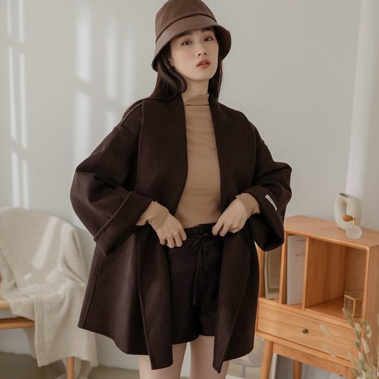 西裝領洋絨外套(附腰帶) 咖啡色 杏色 卡其