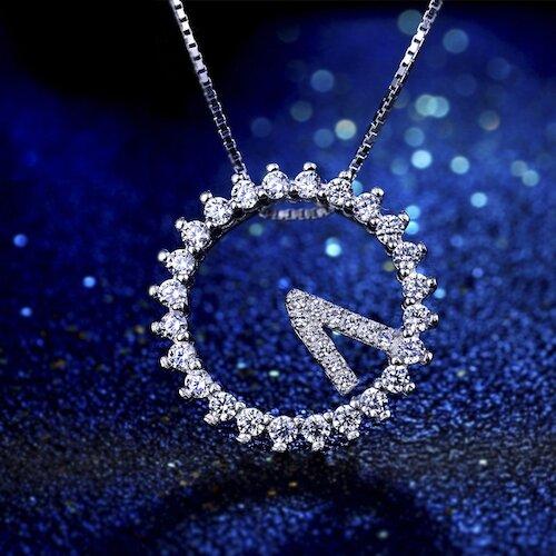 【米蘭精品】925純銀項鍊鋯石吊墜-時鐘520閃亮女飾品73ze32
