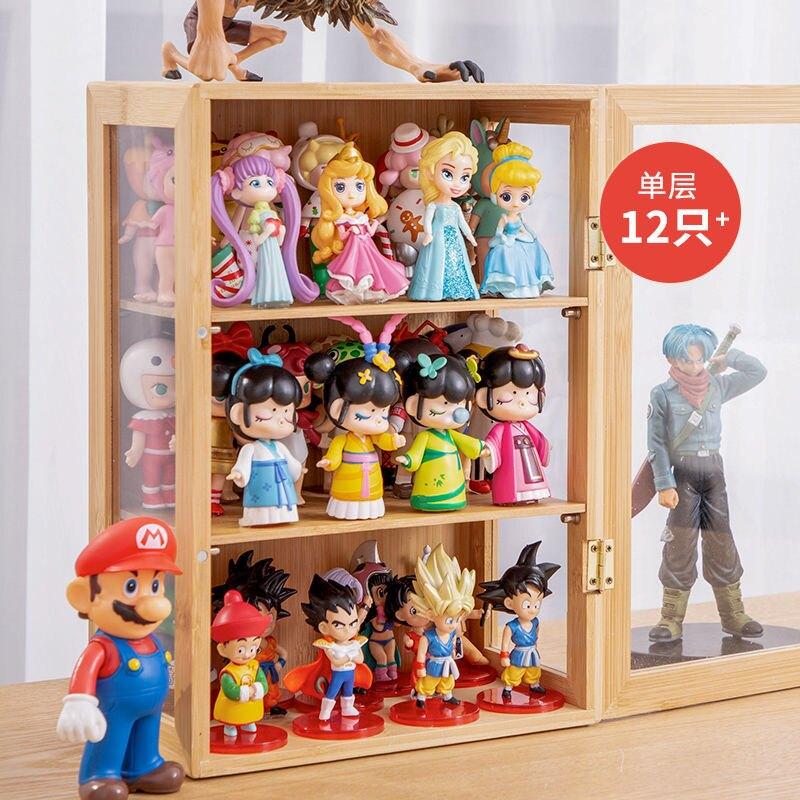 泡泡瑪特手辦收納櫃桌面木質防塵櫃式盲盒收納展示架樂高模型盒子