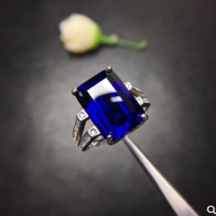 s925純銀鑲嵌優化藍寶石戒指