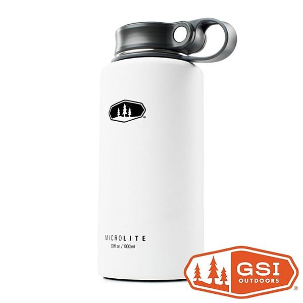 【GSI】Microlite TWIST 輕量不鏽鋼保溫瓶 1L 提環『白色』67159 │不鏽鋼水壺│運動水壺│保溫杯