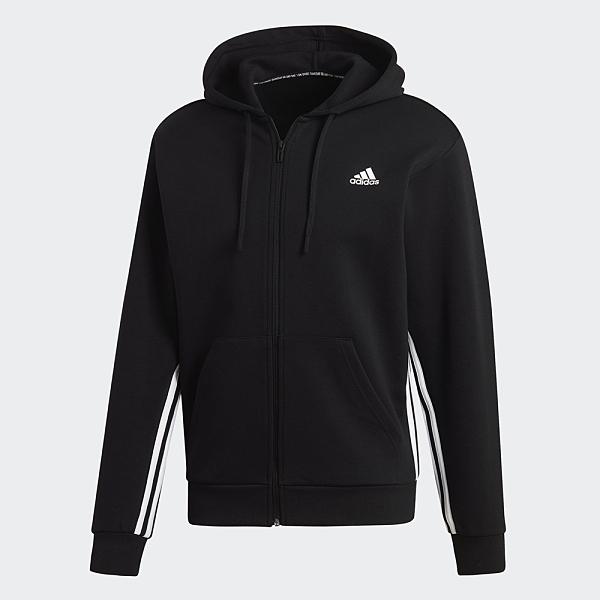 ADIDAS MUST HAVES 3-STRIPES 男裝 外套 連帽 休閒 袋鼠口袋 三線 基本 黑【運動世界】DX7657