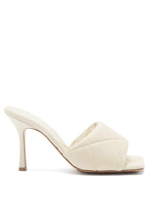 Bottega Veneta - The Lido Intrecciato-debossed Leather Mules - Womens - Ivory