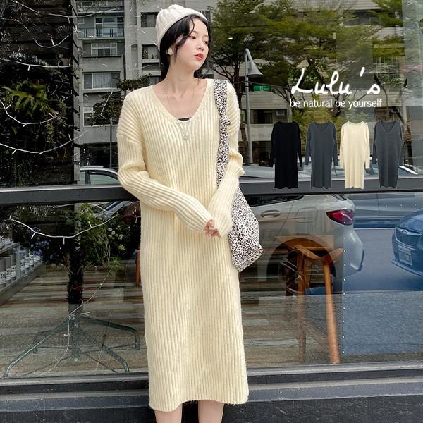 現貨-LULUS【A02200136】YV領坑條針織洋裝4色1224