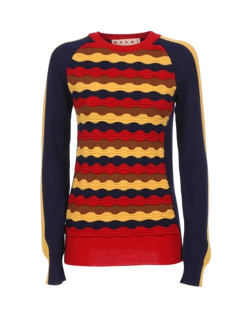 Marni - Wave-knit Wool Sweater - Womens - Multi