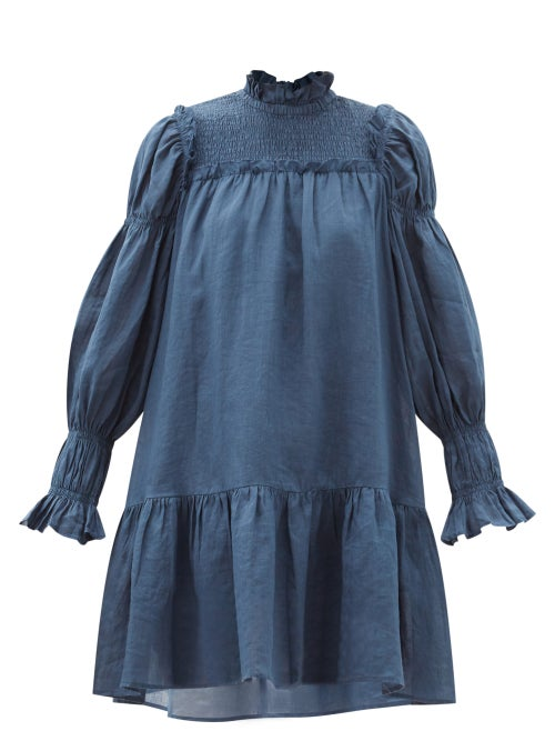 Sea - Hattie Balloon-sleeve Shirred Ramie Mini Dress - Womens - Navy