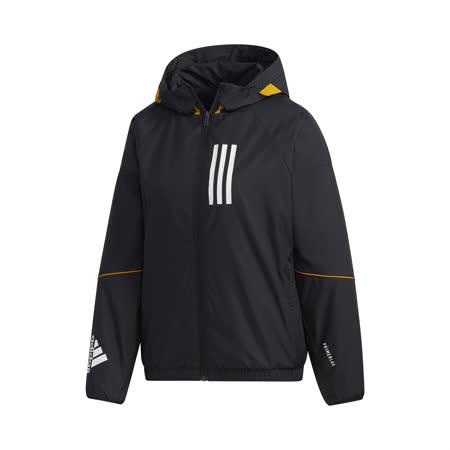 adidas 外套 W.N.D. Warm Jacket 女款 愛迪達 三線 防風 風衣 內刷毛 保暖 黑 白 GF0191 GF0191