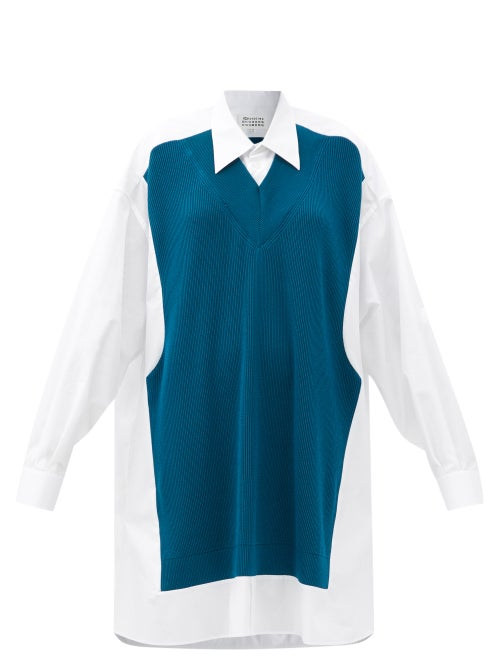 Maison Margiela - Rib-knitted Panel Cotton-poplin Shirtdress - Womens - Blue/ White