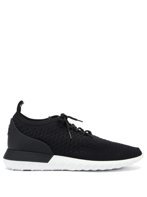 Moncler - Emilien Leather And Mesh Trainers - Mens - Black