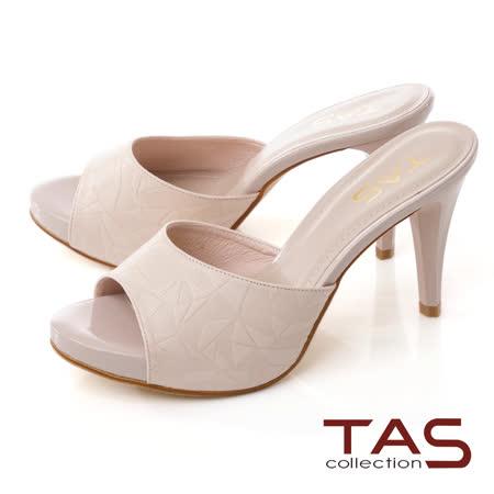 TAS質感壓紋羊皮高跟涼拖鞋-質感膚
