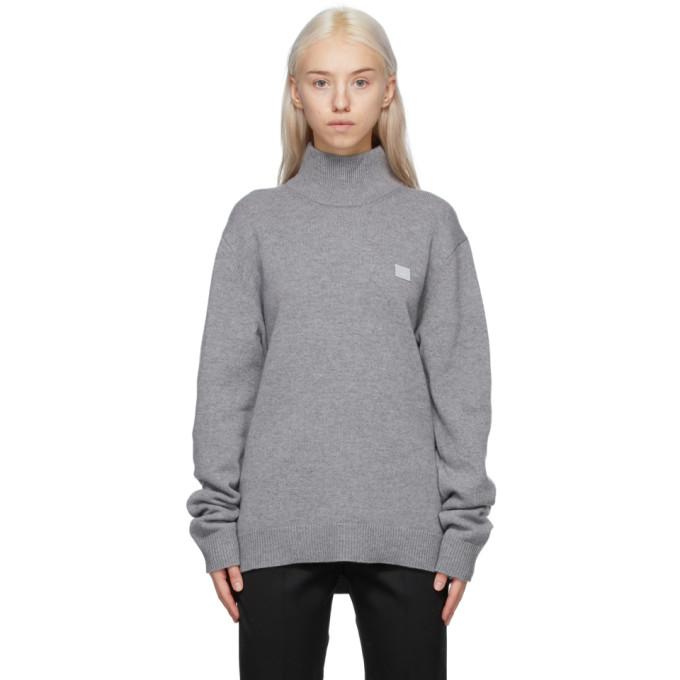 Acne Studios 灰色贴饰羊毛高领毛衣
