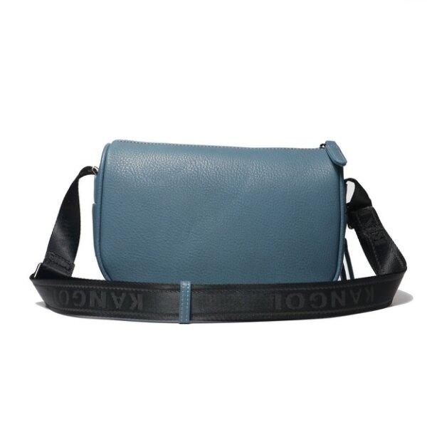 KANGOL 側背包 藍色 荔枝皮 拉鍊串標 隨身包 男女 (布魯克林) 6055301380